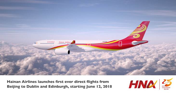 Hainan Airlines expands further into the UK and Ireland